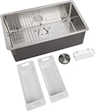 Zuhne 32-Inch Single Bowl Undermount Stainless Steel Kitchen Sink, Strainer, Grid, Caddy,..