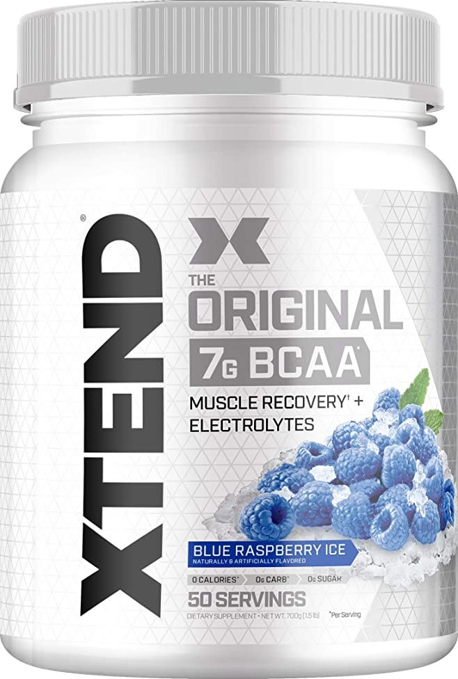 Scivation Xtend BCAA Powder, Branched Chain Amino Acids, BCAAs, Blue Raspberry Ice, 50 Servings