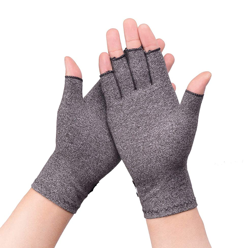 1 Pair Arthritis Gloves - Compression Glove for Rheumatoid, Osteoarthritis - Heat Hand Gloves for Computer Typing, Arthritic Joint Pain Relief, Carpal Tunnel - Men, Women - Open Finger Thumb
