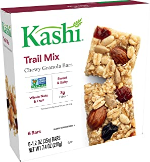 Kashi Chewy Trail Mix Granola Bars - Vegan | Box of 6 (Pack of 8)
