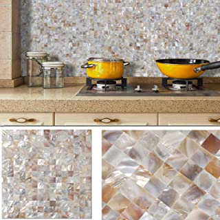 BeNice Self Adhesive Shell Mosaic Tile Backsplash Peel and Stick Natural Mother of Pearl Tile Waterproof Wall Tile Sticker Kitchen Tile Bathroom Tile DIY 12in.x12in.(1sheet Beige)