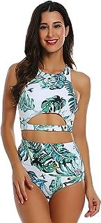 Cherrydew Womens High Waisted Bikini Swimsuits Set Print Two Piece Bating Suit Pattern High Neck Swimwear Beachwear