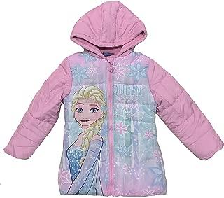 5//6 9//10 Disney Collection Frozen Girl Puffer Coat w// Faux Fur Hoods Purple 4