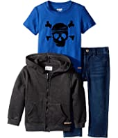 Hudson Kids - Three-Piece Hoodie Short Sleeve Tee w/ Knit Denim Pants Set (Infant)