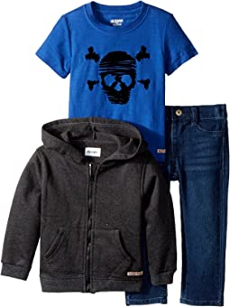 Hudson Kids - Three-Piece Hoodie Short Sleeve Tee w/ Knit Denim Pants Set (Infant)