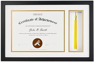 Golden State Art, Diploma Tassel Shadow Box 11x17.5 Frame for 8.5x11 Document/Certificate, with Double Mat (White Over Gold), Tassel Holder & Real Glass, Black