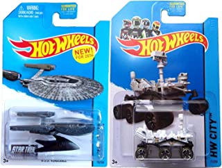 Hot Wheels Star Trek Mars Rover Set 2014 Planet Heroes USS Vengeance 1:64 Scale Collectible Die Cast Metal Toy Car Models No. 71 and 75