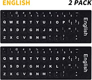 (2PCS Pack) PC Keyboard Stickers, Universal English Keyboard Stickers Black Background with White Large Lettering for Computer Laptop(English)