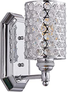 Doraimi 1 Light Crystal Wall Sconce Lighting with Plating Chrome Finish,Modern and Concise Style Wall Light Fixture with Polyhedral Crystal Shade for Bedroom Bathroom,LED Bulb(not Include)
