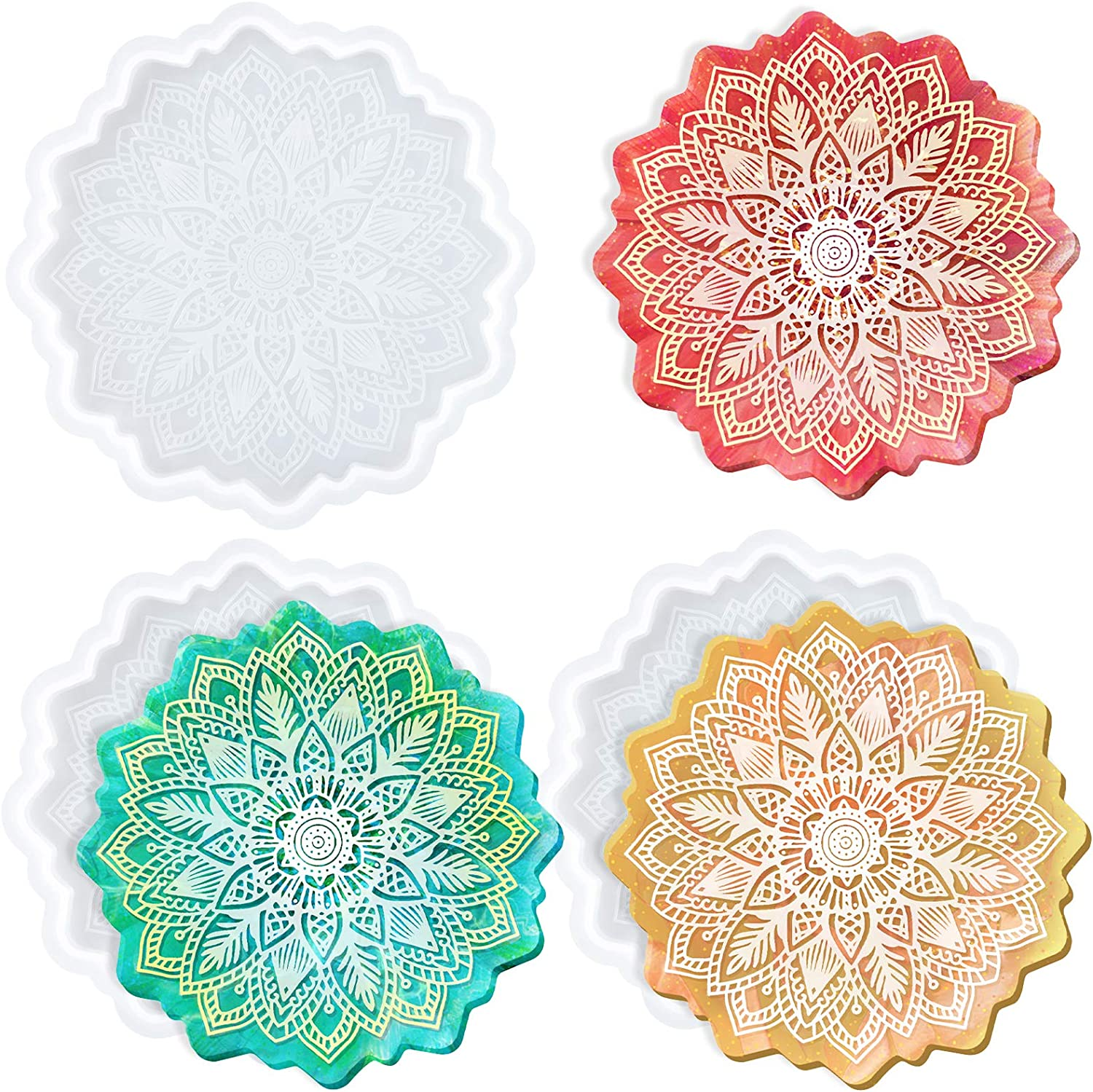MIKIMIQI Mandala Flowers Large special price !! Coaster Mold for Don't miss the campaign 3 Sun Flow Pack Resin