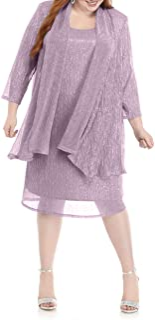 R&M Richards Women's Plus Size Shimmer Jacket Dress