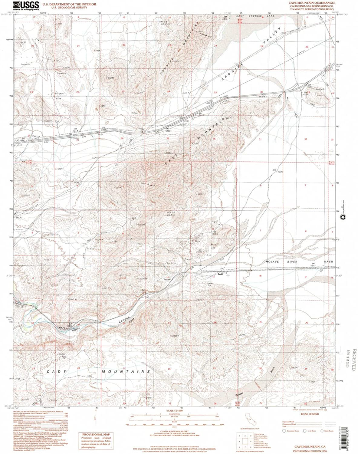 Cave Mountain CA topo map, 1 24000 Scale, 7.5 X 7.5 Minute, Historical, 1996, Updated 2000, 26.8 x 22.1 in
