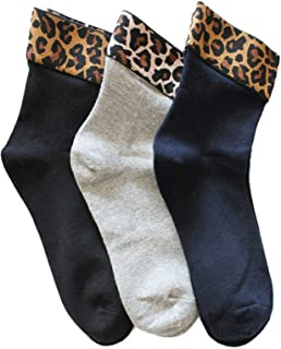 FERETI, Calcetines Corta Mujer Bordo Motivo Leopardo Animal Gato Moda