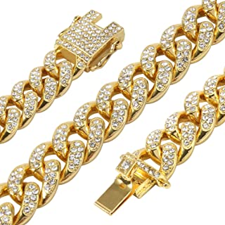 Men's 12MM 14MM 20MM Chains 18K Gold Plated CZ Fully Iced-Out Miami Cuban Link Necklace