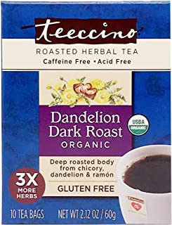 Teeccino Dandelion Tea – Dark Roast - Roasted Herbal Tea | Organic Roasted Dandelion Root | Prebiotic | Caffeine Free | Gl...