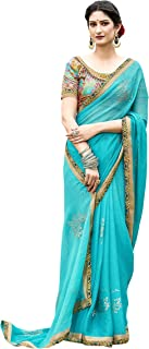 Laxmipati Women's Chiffon Saree With Blouse Piece