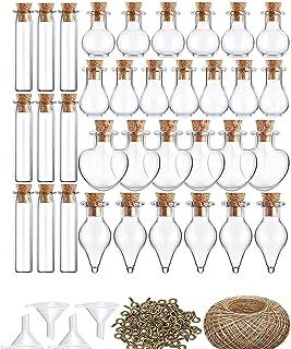 Reau Mini Wishing Bottles 50 Pack 5 Different Shapes Cork Stoppers Glass Bottles, Wishing Bottles, Mini Storage Bottle wit...