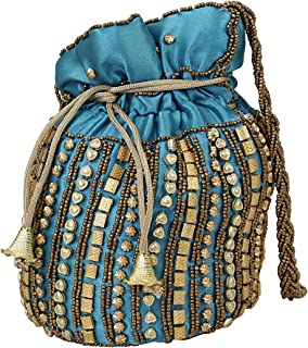 LONGING TO BUY Satin Indian Jaipuriya Style Potli Bag for Women & Girls