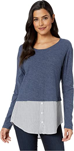 Long Sleeve Classic Stripe Hem Mix Media Top