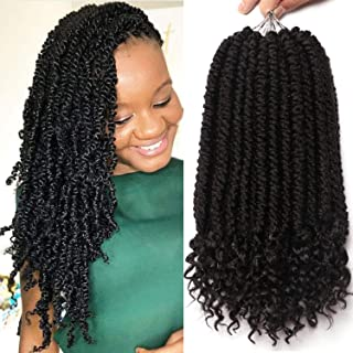 12 Inches 6 Packs Senegalese Spring Twist Hair with Curly Ends Short Ombre Crochet Hair Bounce Synthetic Crochet Braids Hair (1B#)