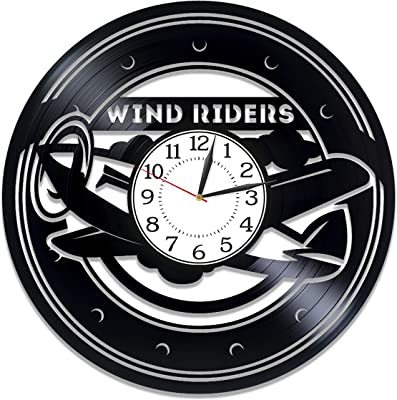 Kovides Pilot Wall Clock 12 Inch Profession Birthday Gift Idea for Boy Wind Rider for Man Profession Vinyl Record Wall Clock Wind Rider Original Home Decor Pilot Handmade Products