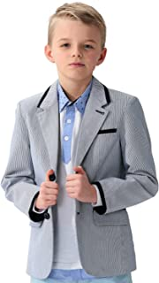 Big Boys Kids 100% Cotton Dobby Stripe Blazers Jackets Coat with Lining