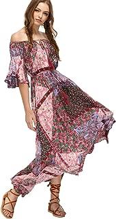 Women's Boho Off The Shoulder Swing Maxi Dress