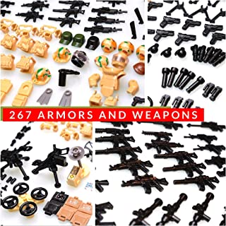 inFUNity Army Minifigures Armor and Weapons Guns Military Gear Accessories Pack (267 PCS) Compatible with Lego Soldiers