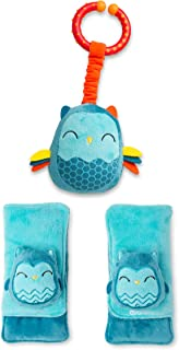 Diono Baby Owl Character Car Seat Straps & Toy, Shoulder Pads for Baby, Infant, Toddler, 2 Pack Soft Seat Belt Cushion and...