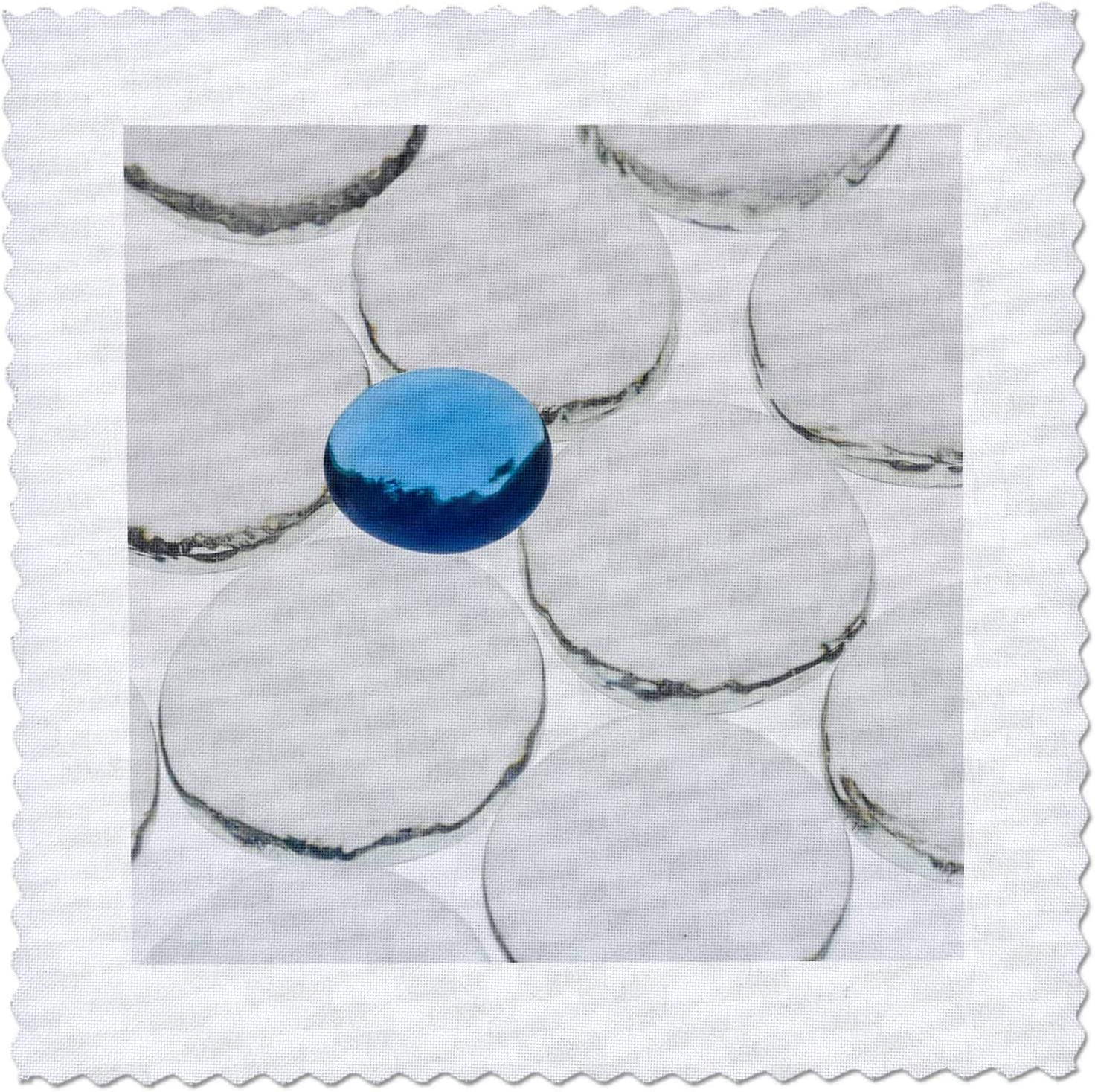 3dRose White and online shopping Blue glass pebbles Raleigh Mall light - Squares Quilt with