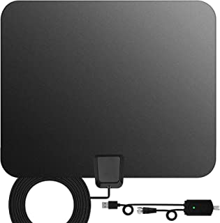 TV Antenna Indoor Digital HDTV Freeview 4K HD VHF UHF for Local Channels 130 Miles with Signal Amplifier for All Television 16.4 ft Cable