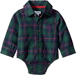 Blackwatch Plaid Button Down One-Piece Crawler (Infant)