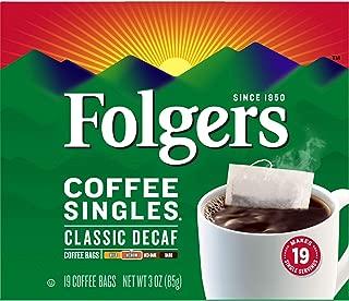 Folgers Classic Roast Decaffeinated Coffee Singles (Medium), 19 ct, 3 oz, Packaging May Vary