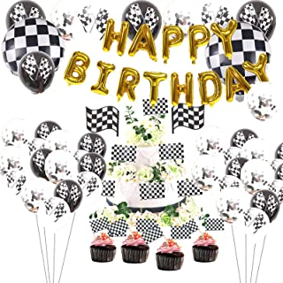 Race Car Party Decorations with Racing Flag Latex Balloon, Racing Balloons,Happy Birthday Balloons Banner,Cake Toppers for...