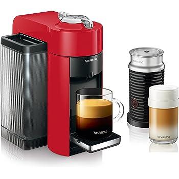 Nespresso by De'Longhi ENV135RAE Coffee and Espresso Machine Bundle with Aeroccino Milk Frother by De'Longhi, Red