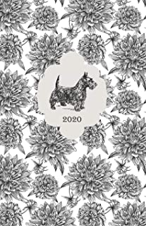 2020: Planner / Diary (Jan - Dec), 2-page MONTHLY & WEEKLY layouts + notes for SIMPLY ORGANIZING YOUR DAYS / Floral Cover of a Dog Breed SCOTTISH TERRIER