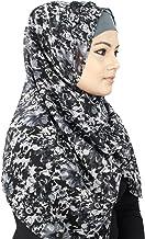 MyBatua Negro y Gris floral con estilo de impresión Georgette Hiyab, Vestimenta de lujo, bufanda islámica, Al-Amira HJ-049