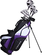 Aspire XD1 Ladies Womens Complete Golf Clubs Set Includes Driver, Fairway, Hybrid, 6-PW Irons, Putter, Stand Bag, 3 H/C's Purple