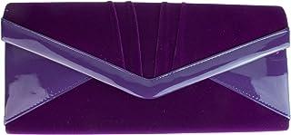 Girly Handbags Samt Handtasche aus glänzend Kunstleder Abendtasche Clutch