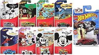 9 Hot Wheels Disney Pack Mickey Mouse & Cruella De Vil Character Series Exclusive 8 Cartoon Car Set + 101 Dalmations Screen Time Pack Bundle