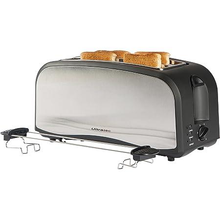 Ultratec XXL Grille-pain à fentes longues, jusqu'à 4tranches de pain à la fois, avec accessoire pour petit pain et ramasse-miettes, en noir mat/acier inoxydable, 1400watts