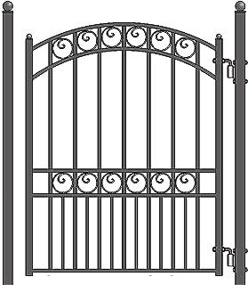 ALEKO PGPAR Paris Style Ornamental Galvanized Steel Pedestrian Security Gate, Black, 5 x 4 Feet