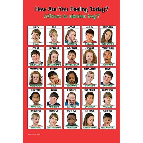 Laminated 18x24 Large Bilingual Spanish/English Youth Feelings Poster