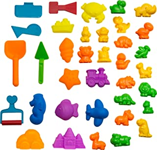 CoolSand Animal Sand Molds & Tools Kit (36 Pcs) - Works with All Other Play Sand Brands - Includes: 10 Dinosaurs, 10 Animals & 12 Beach Molds, & 4 Tools - Sand Not Included