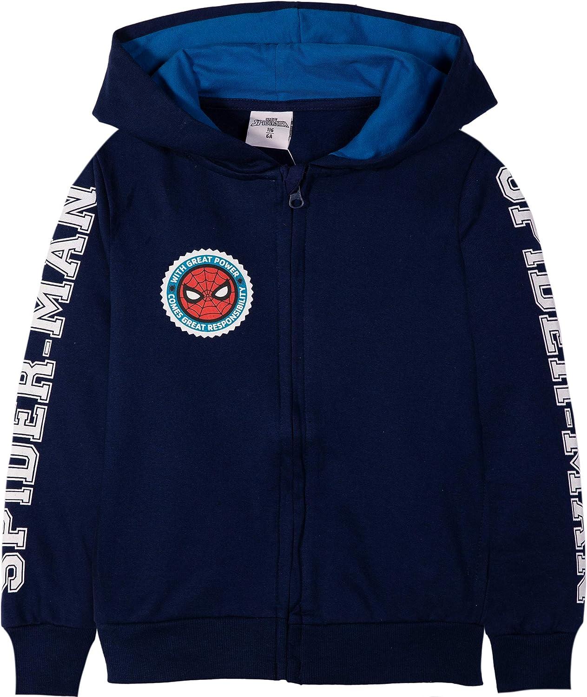 Spider-Man Boys 100/% Cotton Hoodie,Hooded Zipped Navy Sweatshirt Jumper for Boys 3-9 Years