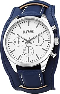 August Steiner Mens Quartz Watch, Analog Display and Leather Strap AS8270BU