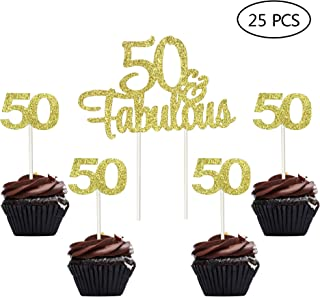 Gold Gltter Number 50 50th Birthday 50th Anniversary Cupcake Toppers 50 & Fabulous Cake Topper Picks for Birthday Wedding Anniversary Party Decorations 25 PCS