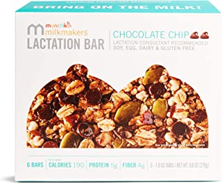 Munchkin Milkmakers Lactation Bars, Chocolate Chip, 6 Count
