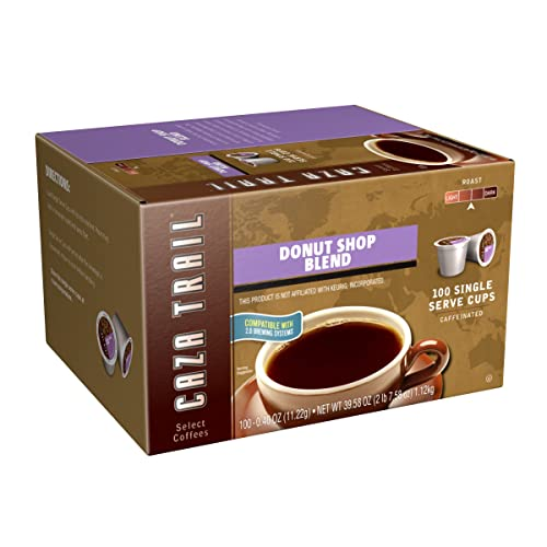 Caza Trail Coffee, Donut Shop Blend, 100 Single Serve Cups (Packaging May Vary)