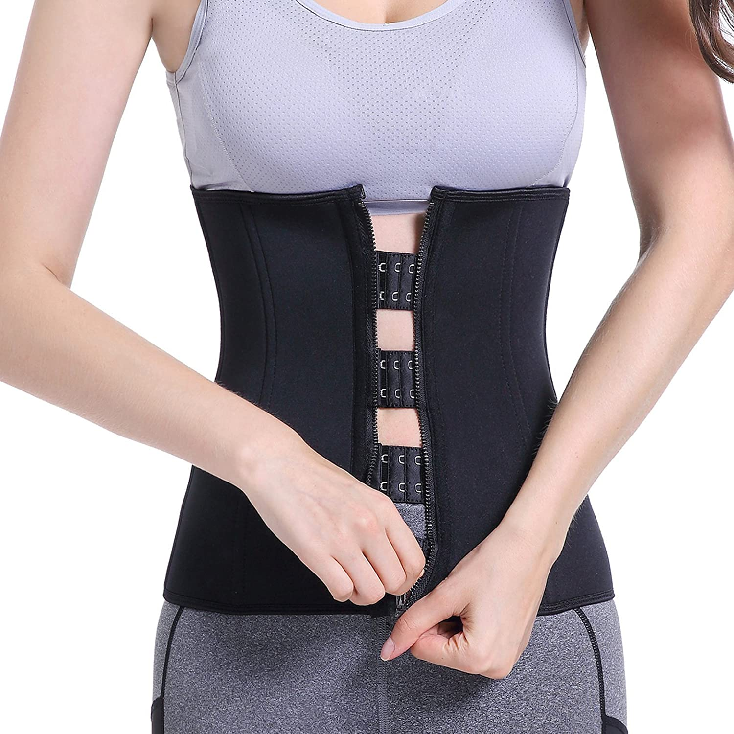 Bolkopess Women's Waist Trainer Corset Weight Loss Shapewear Belt Body Shaper Hot Sweat Slimming Neoprene Cincher Black